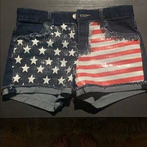 Red, white, and blue jean shorts